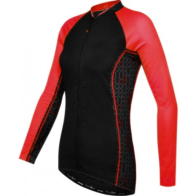 Funkier Atheni WJ-784-LW Ladies Long Sleeve Cycle Jersey - Black/Red