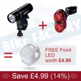 Claud Butler Enigma Six - F & R Cycle light set w. FREE Excalibur 8 Front LED!
