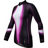 Funkier J-394-LW Ladies Long Sleeve Winter Cycle Jersey - Black/Purple