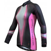 Funkier J-394-LW Ladies Long Sleeve Winter Cycle Jersey - Grey/Pink