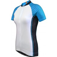 Funkier Atheni WJ-784 Ladies Active Short Cycle Sleeve Jersey - White/Blue