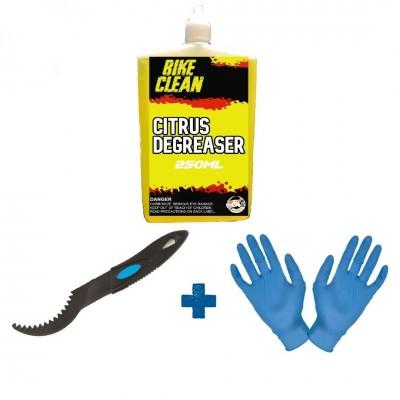 E - Bike Gum - Citrus Degreaser 250 ml - Claw Brush  - Gloves