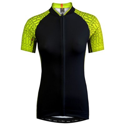 Funkier Atheni WJ-784 Ladies Active Short Sleeve Cycle Jersey - Black/Yellow