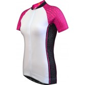 Funkier Atheni WJ-784 Ladies Active Short Sleeve Cycle Jersey - White/Pink