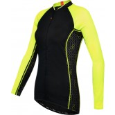 Funkier Atheni WJ-784-LW Ladies Long Sleeve Cycle Jersey - Black/Yellow