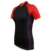 Funkier Atheni  WJ-784 Ladies Active Short Sleeve Cycle Jersey - Black/Red