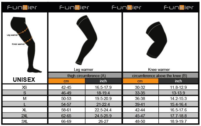 funkier leg & knee warmer size guide